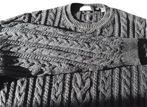 Hickey Freeman Crewneck Cable Knit 100%cotton Made In China Longsleeve Sweater