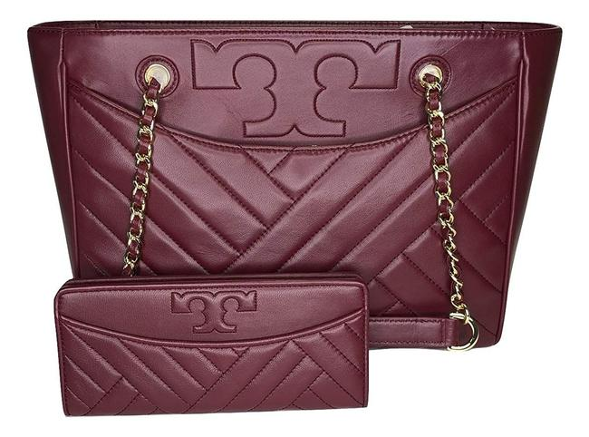 Item - Alexa Small Quilted Tote & Matching Slim Envelope Wallet Imperial Garnet Red Lambskin Leather Shoulder Bag