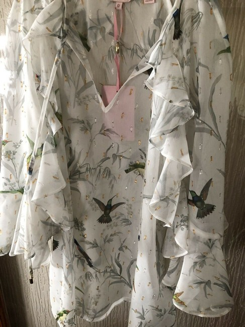 Ted Baker Top white/ floral hummingbirds Image 1