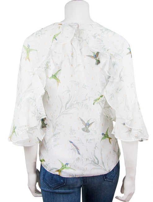 Ted Baker Top white/ floral hummingbirds Image 2