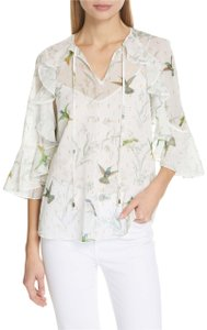Ted Baker Top white/ floral hummingbirds