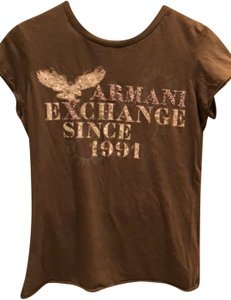 A|X Armani Exchange T Shirt brown with tan and rose detail
