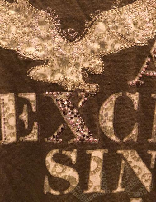 A|X Armani Exchange T Shirt brown with tan and rose detail Image 2