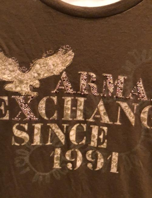 A|X Armani Exchange T Shirt brown with tan and rose detail Image 3