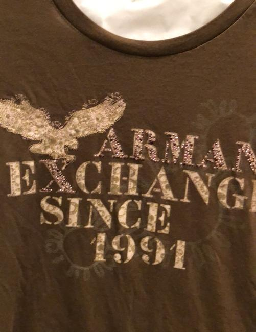 A|X Armani Exchange T Shirt brown with tan and rose detail Image 5