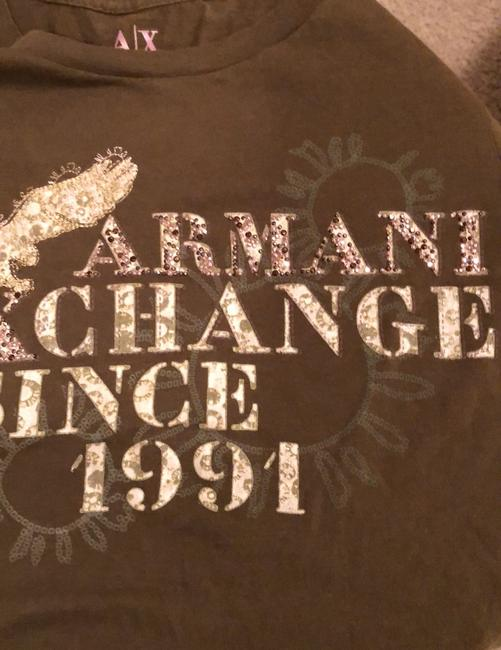 A|X Armani Exchange T Shirt brown with tan and rose detail Image 7