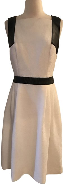 Item - Ivory Black Sleeveless Leather-trim Color: Short Casual Dress Size 4 (S)