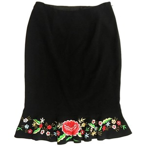 Moschino Embroidery Couture Skirt Black w/ Floral