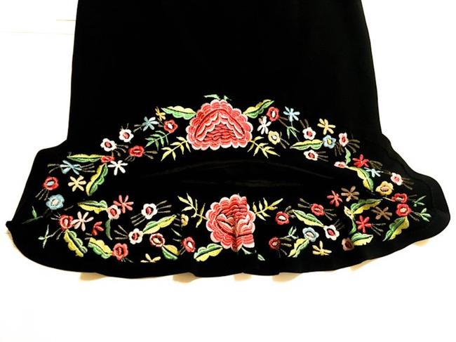 Moschino Embroidery Couture Skirt Black w/ Floral Image 4