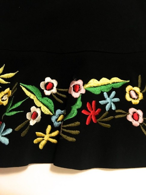 Moschino Embroidery Couture Skirt Black w/ Floral Image 7