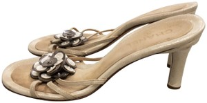 Chanel Heel Mother-of-pearl Slip-on Heels Gold Sandals