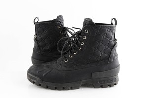 Gucci Black Leather Guccissima Lace-up Boots Shoes