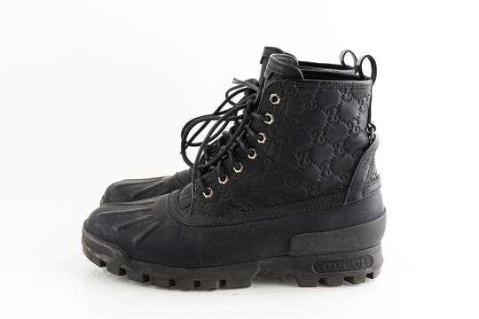 Gucci Black Leather Guccissima Lace-up Boots Shoes Image 2