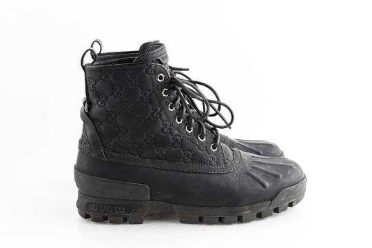 Gucci Black Leather Guccissima Lace-up Boots Shoes Image 3