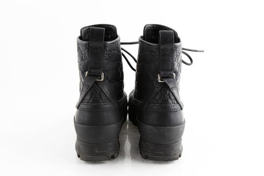 Gucci Black Leather Guccissima Lace-up Boots Shoes Image 4