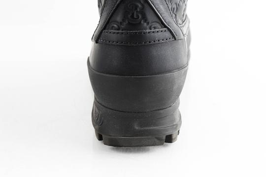 Gucci Black Leather Guccissima Lace-up Boots Shoes Image 9