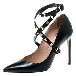 Valentino Leather Studded Ankle Strap Pointed Toe Black Pumps