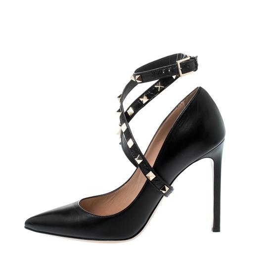 Valentino Leather Studded Ankle Strap Pointed Toe Black Pumps Image 1