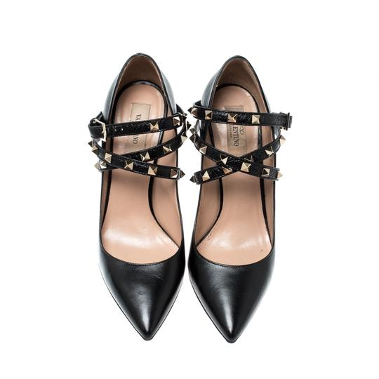 Valentino Leather Studded Ankle Strap Pointed Toe Black Pumps Image 2