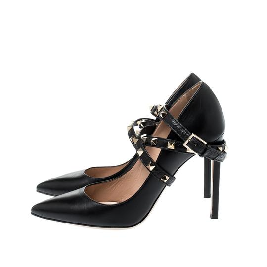 Valentino Leather Studded Ankle Strap Pointed Toe Black Pumps Image 3