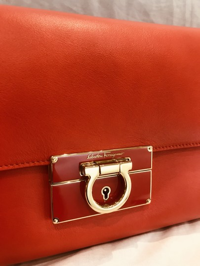 Salvatore Ferragamo tomato red Clutch Image 10