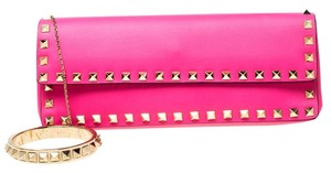 Valentino Leather Studded Signature Pink Clutch