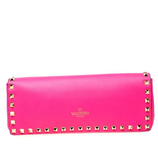 Valentino Leather Studded Signature Pink Clutch Image 1
