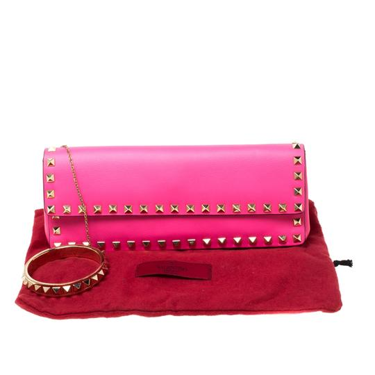 Valentino Leather Studded Signature Pink Clutch Image 10
