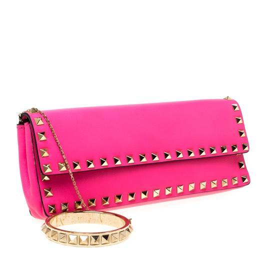 Valentino Leather Studded Signature Pink Clutch Image 3