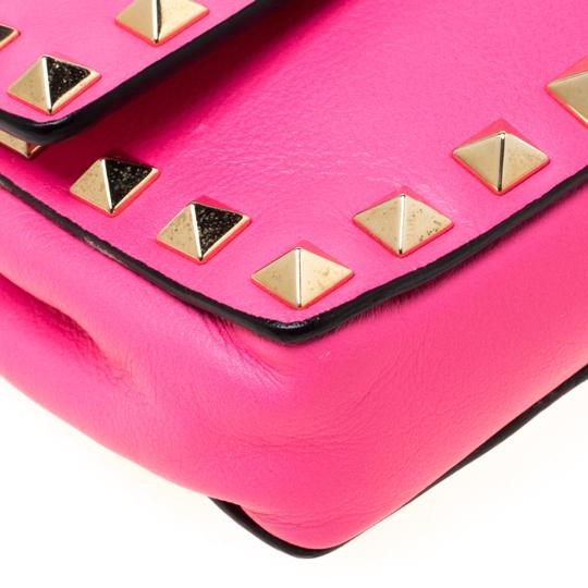 Valentino Leather Studded Signature Pink Clutch Image 7
