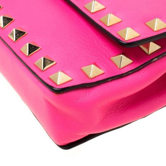 Valentino Leather Studded Signature Pink Clutch Image 8