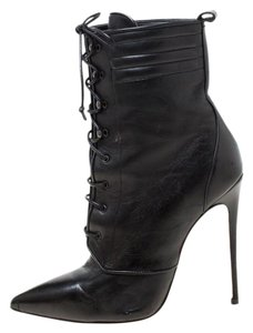 Christian Louboutin Leather Lace Ankle Pointed Toe Black Boots