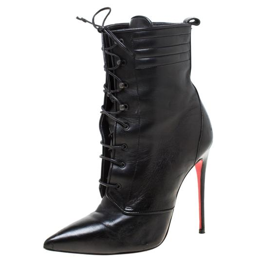 Christian Louboutin Leather Lace Ankle Pointed Toe Black Boots Image 1