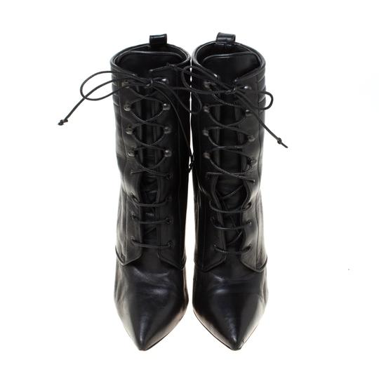 Christian Louboutin Leather Lace Ankle Pointed Toe Black Boots Image 2