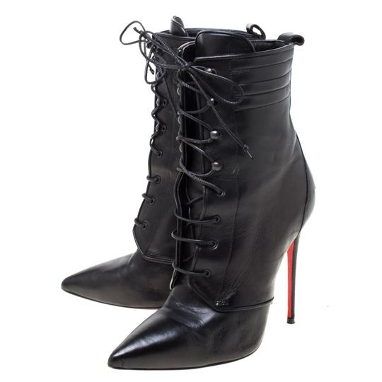 Christian Louboutin Leather Lace Ankle Pointed Toe Black Boots Image 4