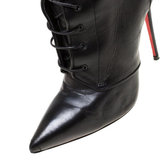 Christian Louboutin Leather Lace Ankle Pointed Toe Black Boots Image 6