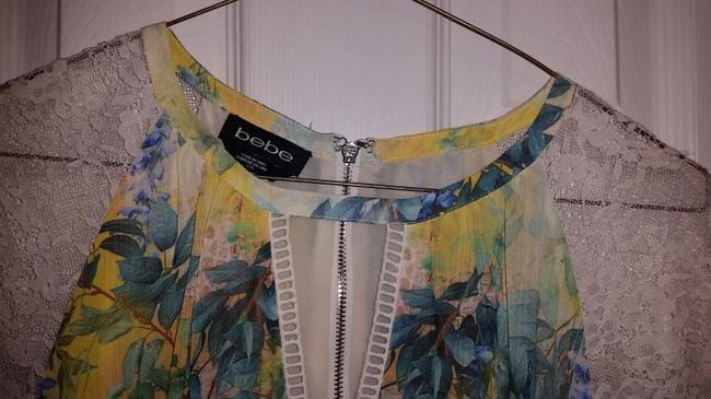 bebe Top Green yellow white multi print Image 5