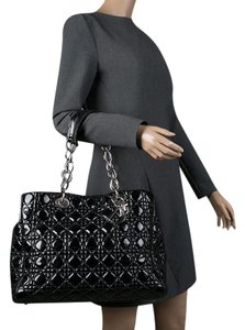 Dior Quilted Soft Patent Leather Tote in Black