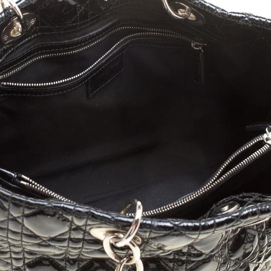 Dior Quilted Soft Patent Leather Tote in Black Image 11