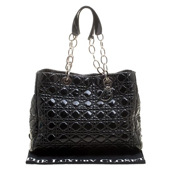 Dior Quilted Soft Patent Leather Tote in Black Image 4