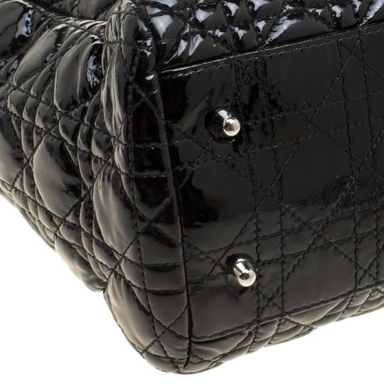 Dior Quilted Soft Patent Leather Tote in Black Image 5