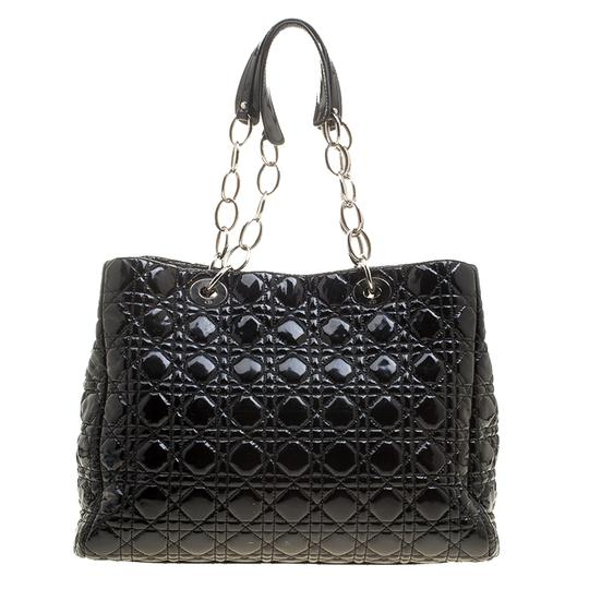 Dior Quilted Soft Patent Leather Tote in Black Image 6