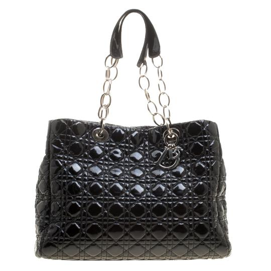 Dior Quilted Soft Patent Leather Tote in Black Image 8