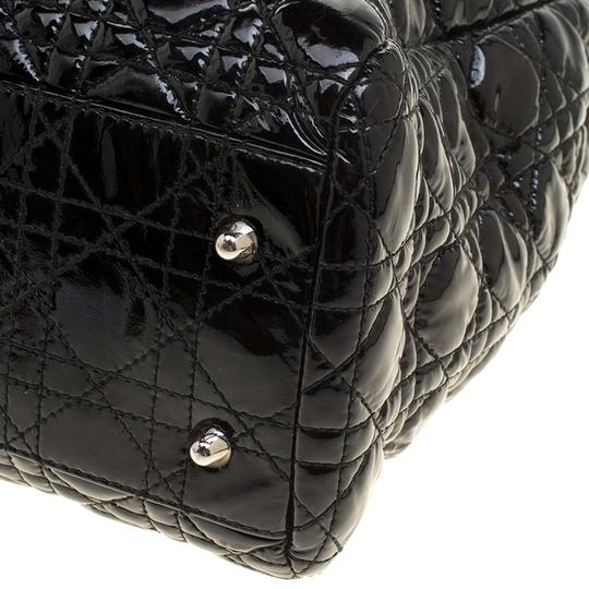 Dior Quilted Soft Patent Leather Tote in Black Image 9