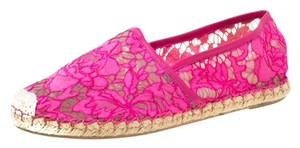 Valentino Lace Mesh Leather Rubber Pink Flats