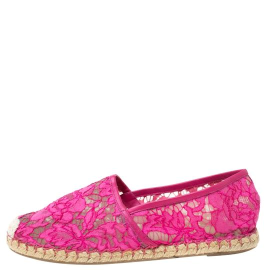 Valentino Lace Mesh Leather Rubber Pink Flats Image 1