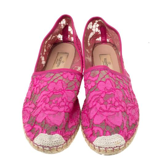 Valentino Lace Mesh Leather Rubber Pink Flats Image 2