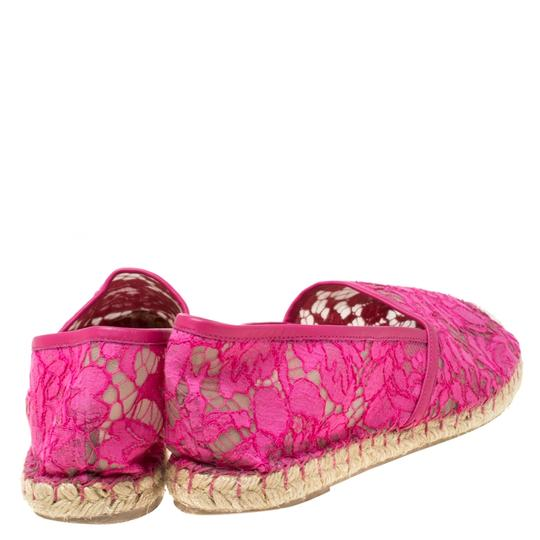 Valentino Lace Mesh Leather Rubber Pink Flats Image 3