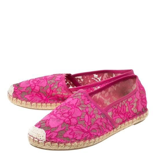 Valentino Lace Mesh Leather Rubber Pink Flats Image 4