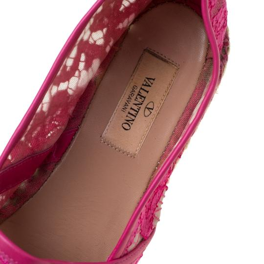 Valentino Lace Mesh Leather Rubber Pink Flats Image 6